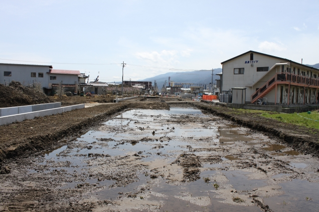 この河川改修工事が土地区画整理事業の最初の工事
