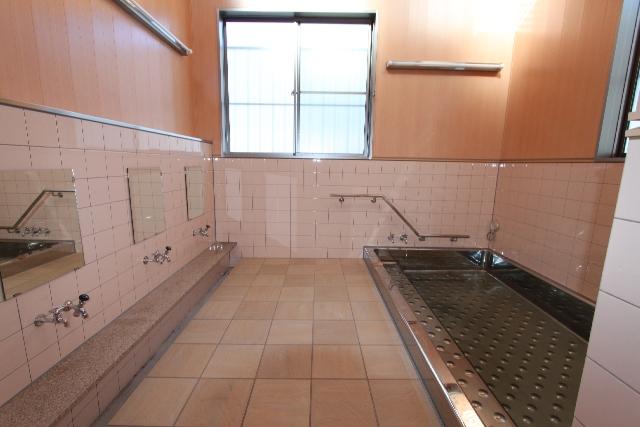 洗い場内:ステンレスの浴槽内には滑り止めの凹凸があります