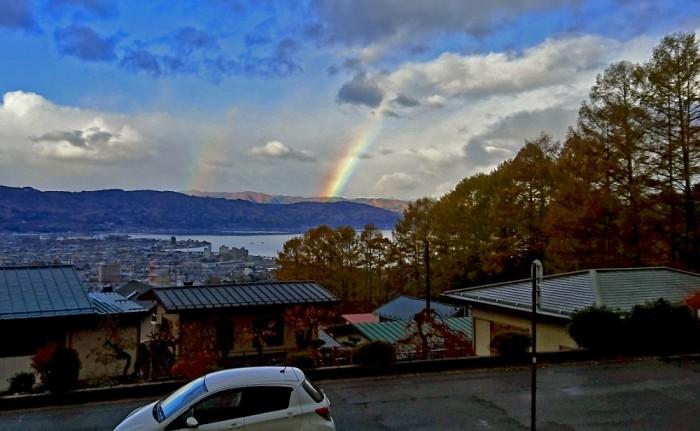 地鎮祭の朝に虹